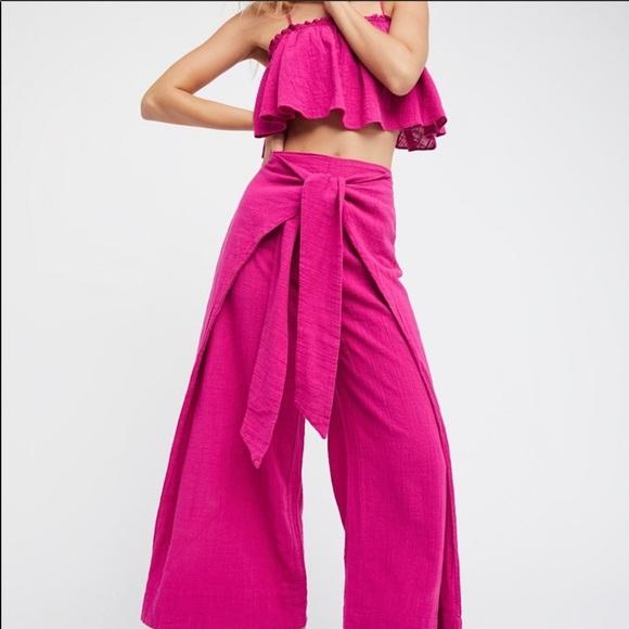 2 Piece Pink Linen Palazzo Set